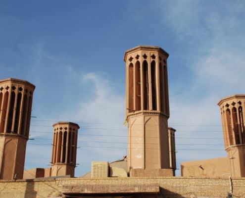 Vindtårne i ørkenbyen Yazd