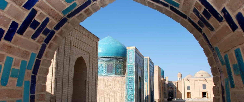 Blåkalkede kupler og vægge i Usbekistan