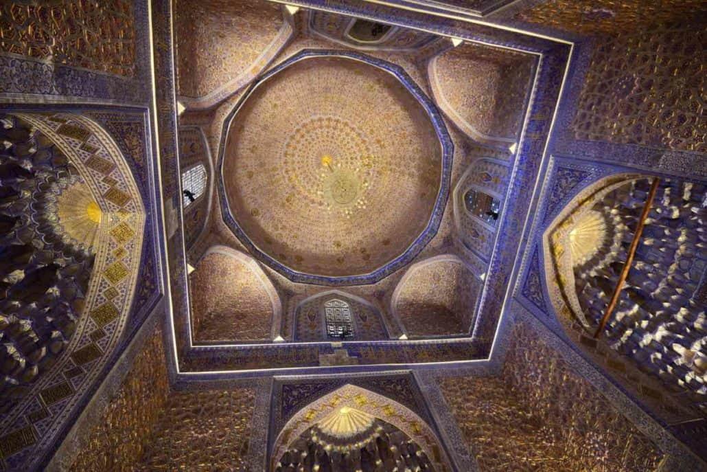 Udsmykket kuppel set nedefra