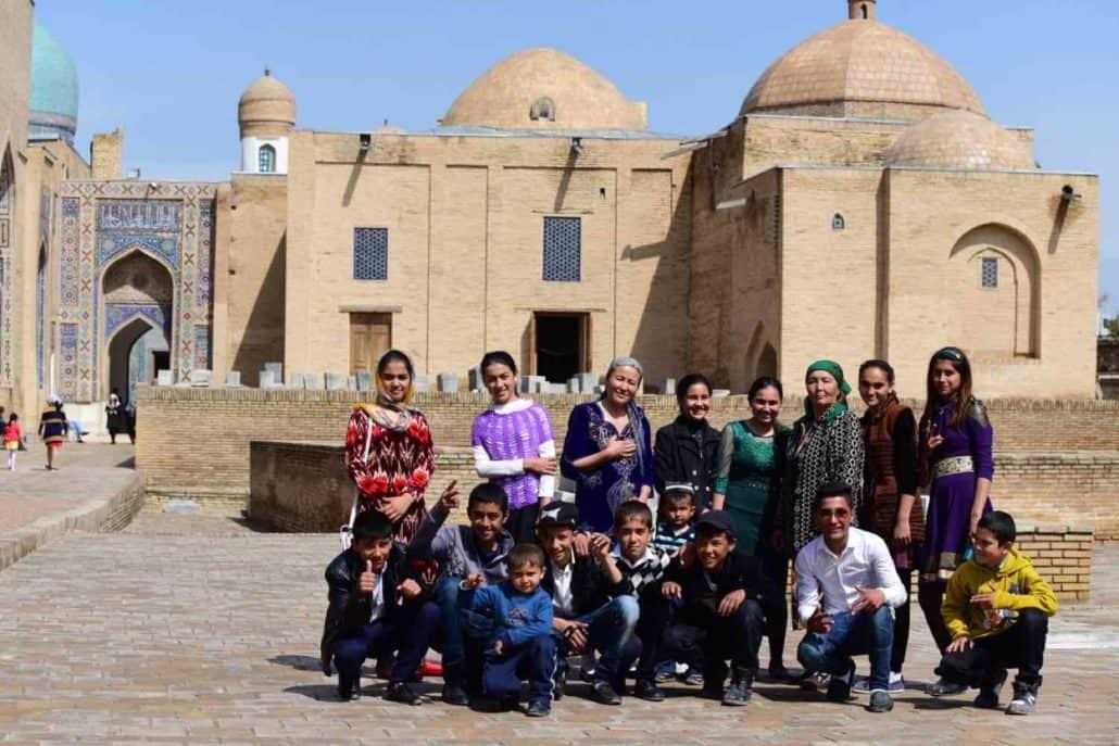 Usbekiske turister i Samarkand