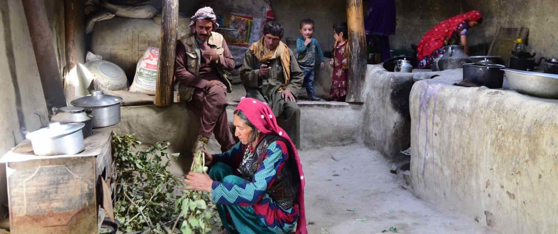 Kirgisiske nomader inde i hus