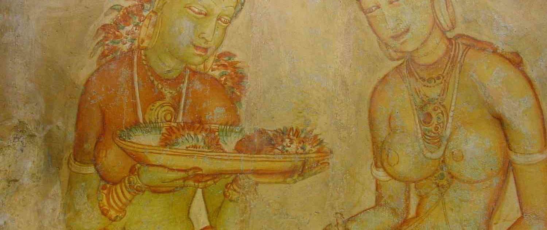 Vægdekoration i Sigiriya i Sri Lanka