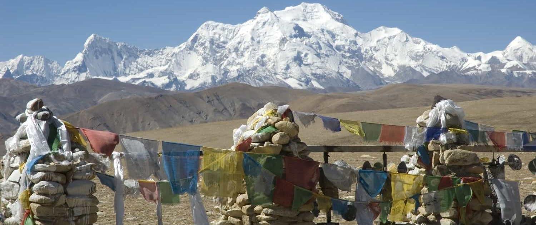 Bjergpas i Tibet og tibetanske flag