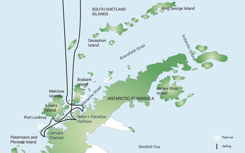 Rutekort over det antarktiske ishav på rejser til Antarktis