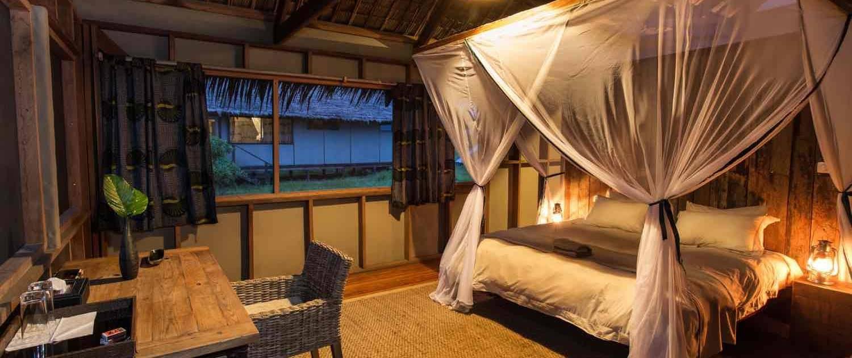Soveværelse på camp i Congo