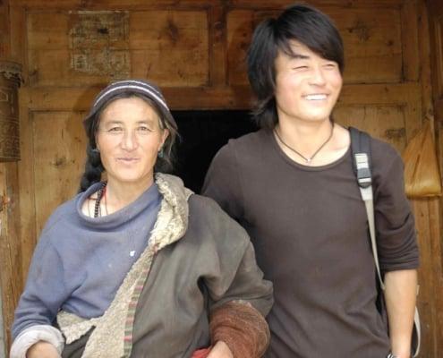 Mor og søn i Tibet