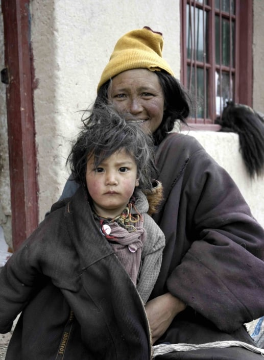 Mor og barn i Tibet