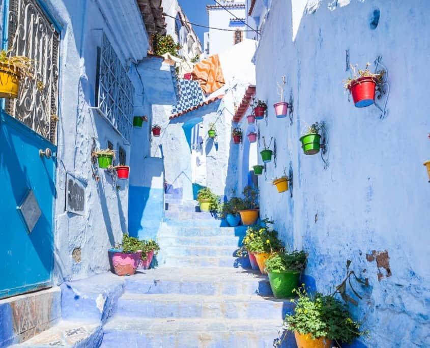 Gade i den blå by Chefchaouen