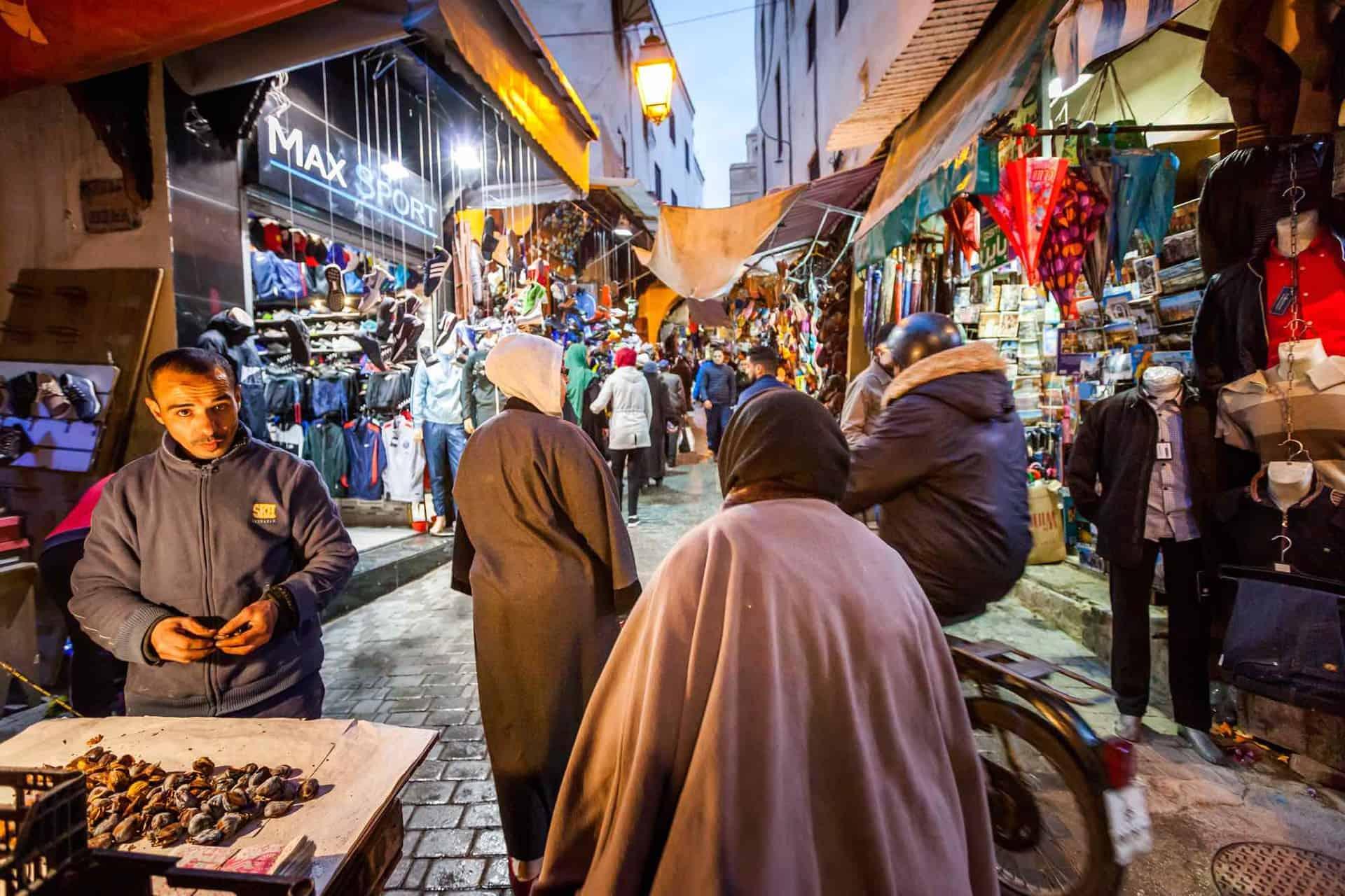 Aftenmarked i Fez i Marokko