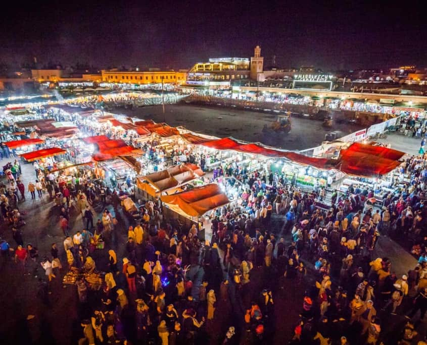 Marked i Marrakech set oppefra