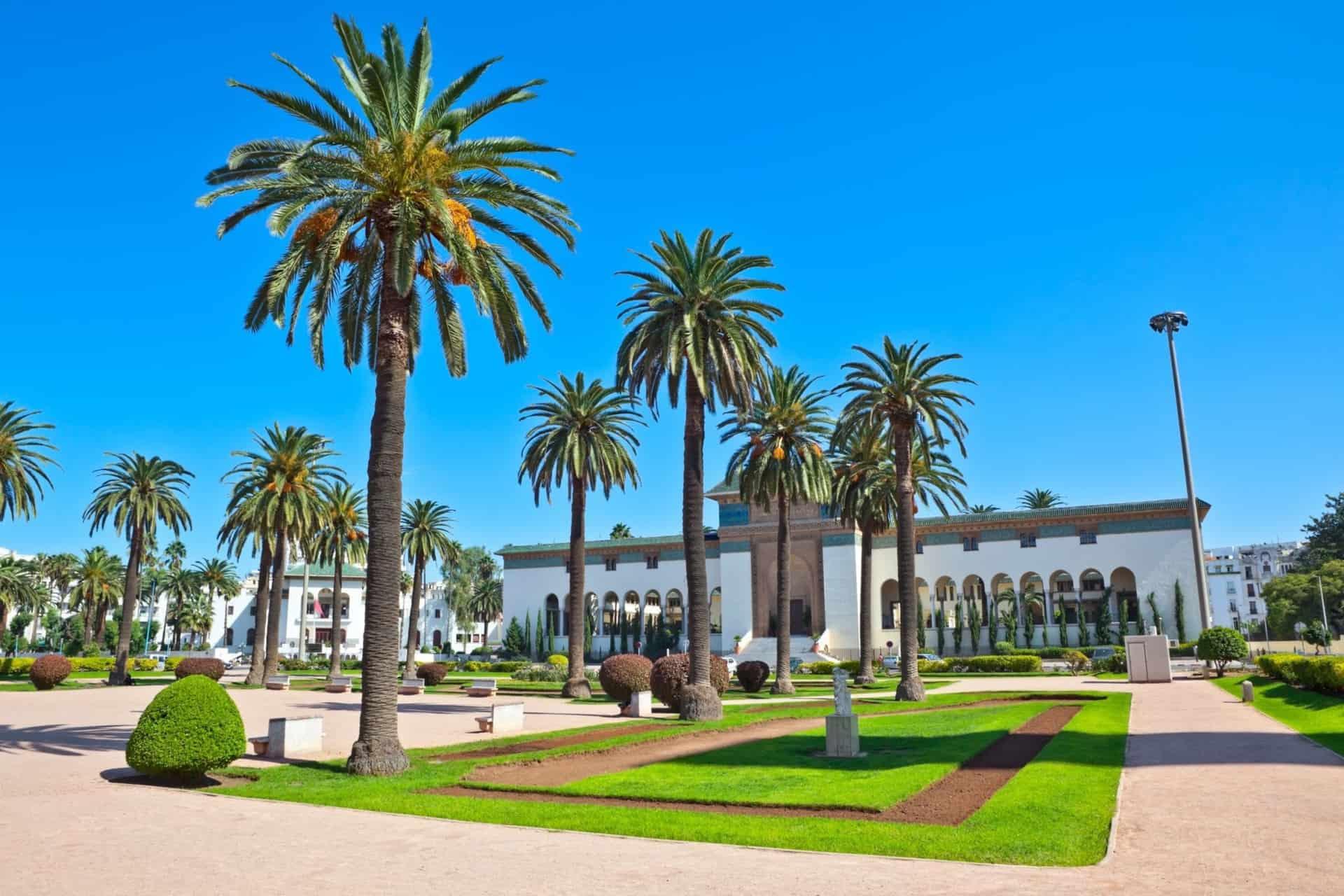 Grøn plads i Casablanca på Marokkorejse