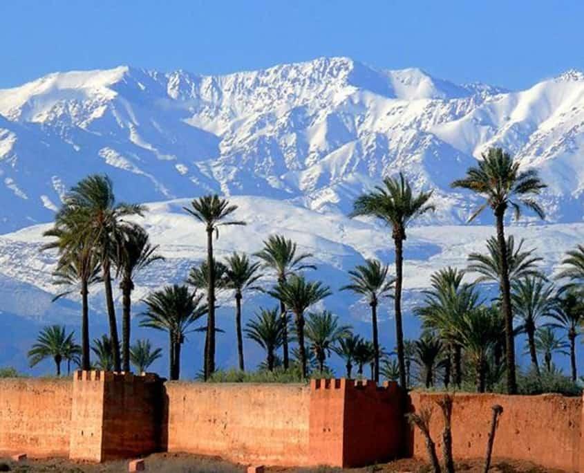 Ørkenbyen Marrakech og bjerglandskaber i baggrunden