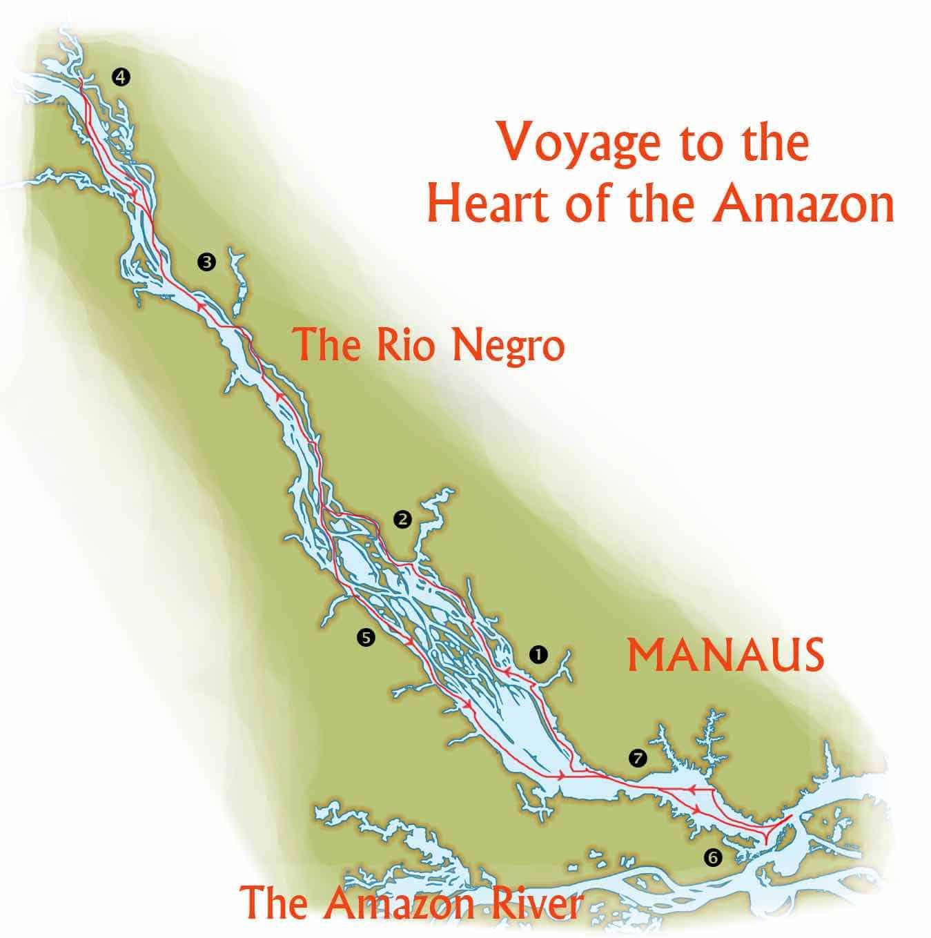 Rutekort over rejse på Rio Negro langs Amazonfloden