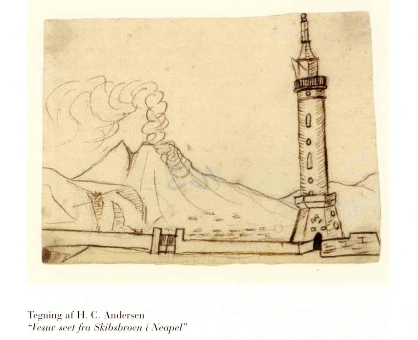 H.C. Andersens tegning af Vesuv fra 1834.