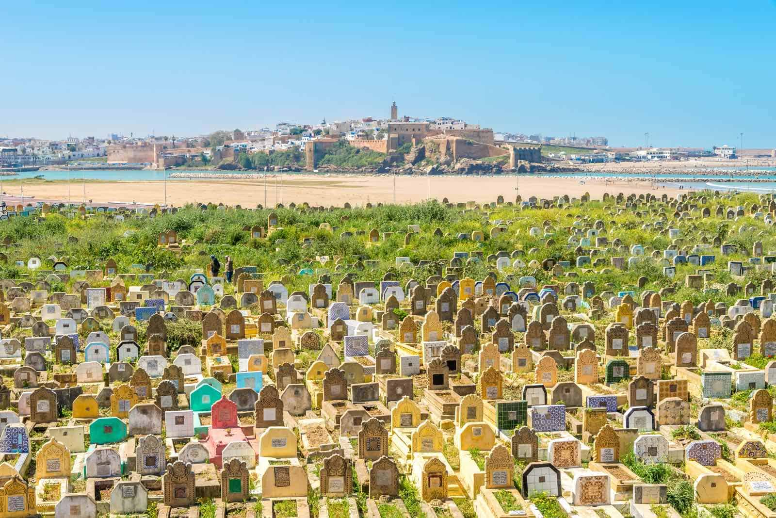muslimsk gravplads udenfor landsbyen Sale i Marokko