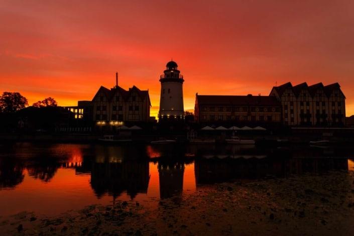 Solnedgang over Kaliningrad