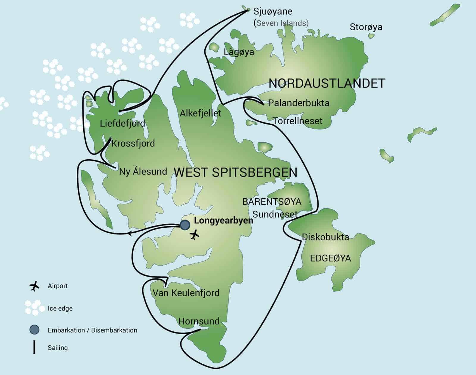 Rutekort over rejse til Svalbard rundt om Spitsbergen