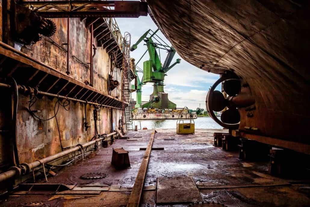 Skibværft set indefra i Gdansk, Polen